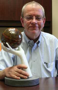 Photo of Steve Lampron with one of the Potters Choice colors he developed